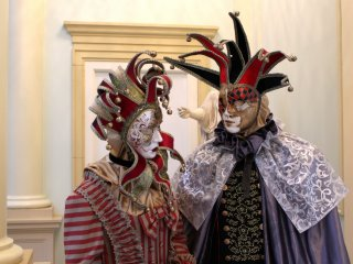 The masquerade costumes were displayed in the lobby