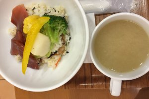 The tuna and vegetable rice bowl comes with miso soup.