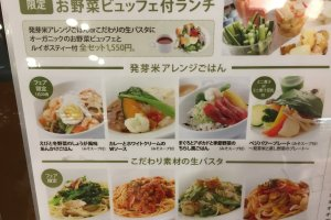 Menu with the choices of main dishes