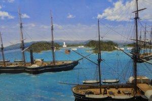 久里浜に来航した黒船の様子を示したジオラマ