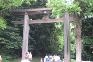 Huge torii (gate) at the entrance to the shrine grounds