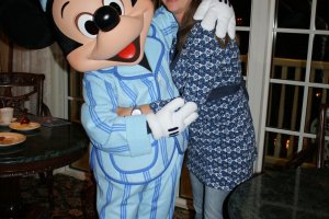 Nele on her surprise night with Mickey Mouse in PJs