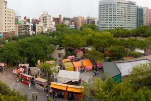 View of Chuo Park from ACROS during the Dontaku festival in early May