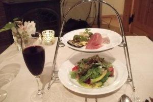 My tasty salad and fresh blueberry juice