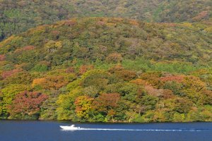 Warna-warni daun di sekitar danau pada bulan Oktober