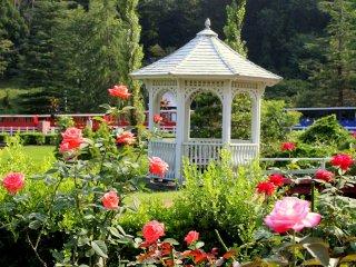 Este pequeno pavilhão solitário ergue-se orgulhosamente entre arbustos e rosas