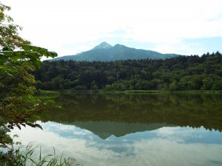 Otatomari pond reflecting Mt Rishiri