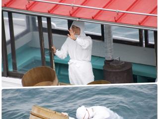 あこや貝採取のパフォーマンスも・・・