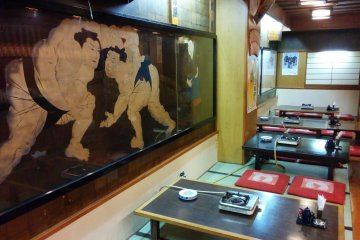Great atmosphere with sumo pictures and tatami mat seating