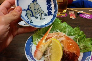 Fresh crab salad next to one of the restaurant specially designed bowls