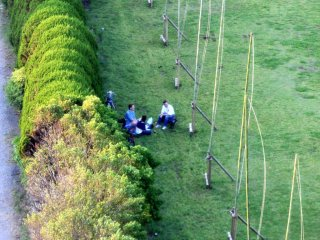 Looking down at a small group of tourist enjoying their picnic below us