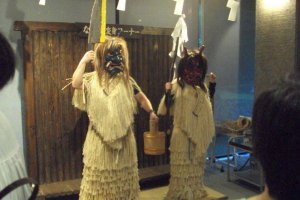 Namahage photo area. Dress as a Namahage and don't forget your knife!
