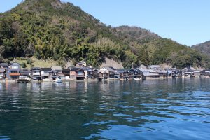 Kyoto Highlight: Boathouses line the shore in Ine Town