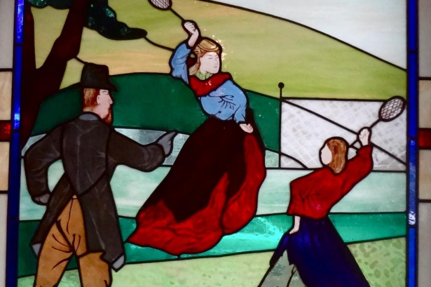 Stained glass showing lawn tennis on the Bluff