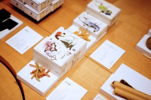 Pretty gift boxes with filled with traditional Japanese snacks