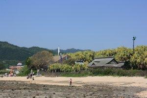 Rochers, sable, sanctuaire et palmiers
