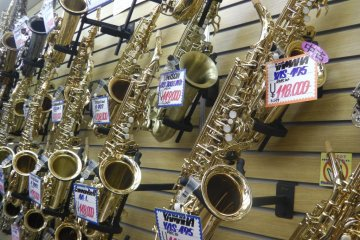 Brass instruments of all shapes and sizes