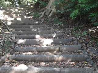 The steps up from the temple