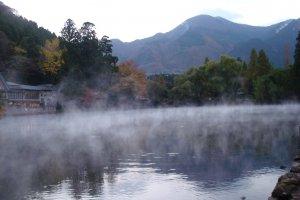 Steam rising over Kinrin Lake, Yufuin