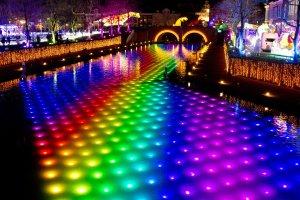 The awesome rainbow illuminated river