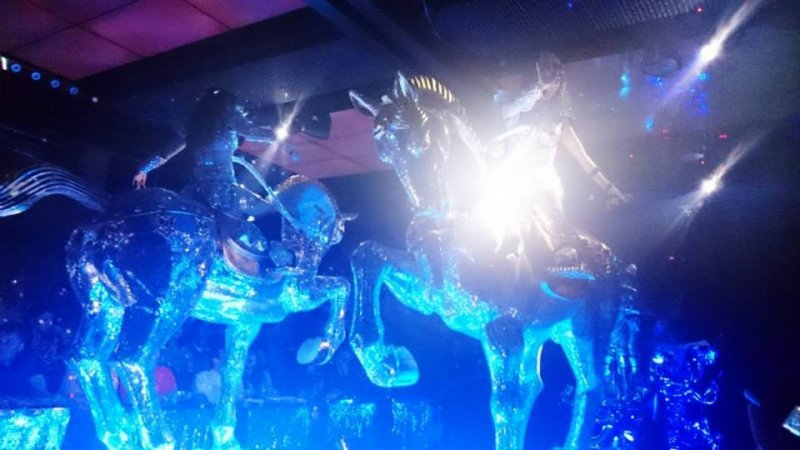 """Robot Restaurant features their """"lady knights in shining armor"""" who are literally riding on shining horses."""