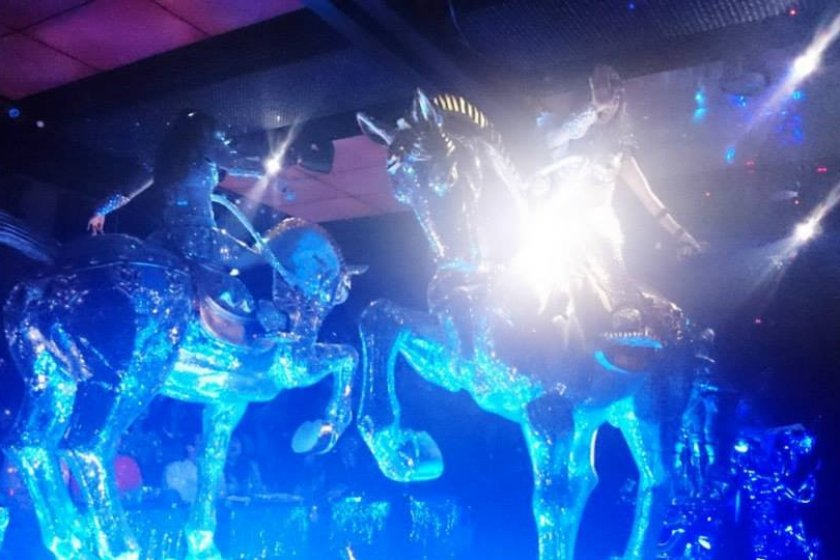"""Robot Restaurant features their \""""lady knights in shining armor\"""" who are literally riding on shining horses."""