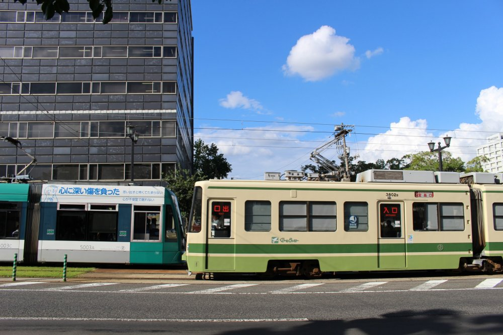 """On the left, 1999's German-made Model 5000 (""""Green Mover"""") and on the right, 1987's M3800 (""""Green Liner"""")"""