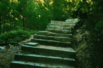 The path is steep all the way up, but well paved with steps