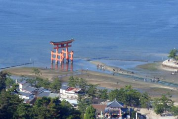 There are fine views of Itsukushima Shrine and its famous torii