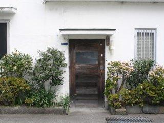 Cute little door among beautiful plants