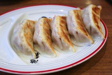 Gyoza pork dumplings on the side