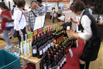 Visitors sample some of the delicious wines in the winery shop