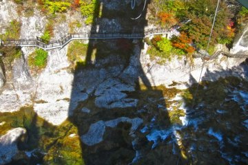 Looking down at the Tonegawa River from the bungee bridge