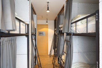 Beds in the mixed dormitory