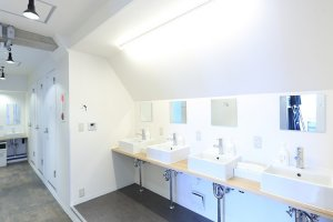 En-suite sinks and toilets in the dormitory