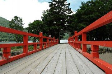 Walking onto the red bridge