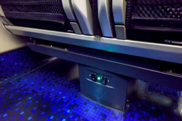 Power outlets and plenty of leg space!