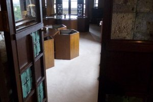 The interior includes some of Wright's custom furniture