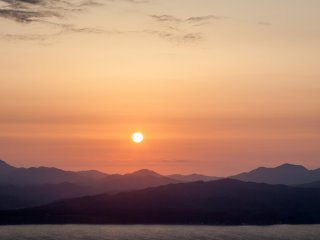 Burning skies over Hakodate Bay