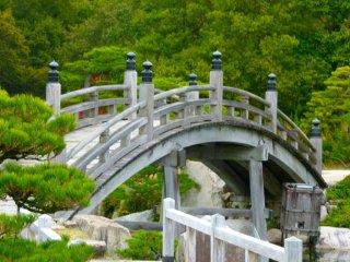 Jembatan melengkung yang ada di taman