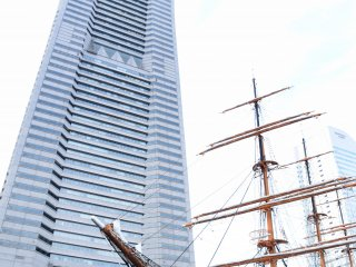 The Landmark Tower and the sail training ship Nippon Maru