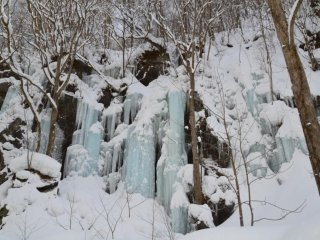 Frozen waterfall—really wonderful the blueish colour