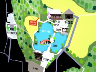 A map of Shomyouji Temple and Kanazawa Bunko Museum, which is located on the left side of the map