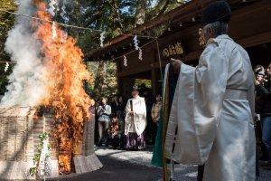 Tôi tìm hiểu về lễ hội lửa này từ NHK