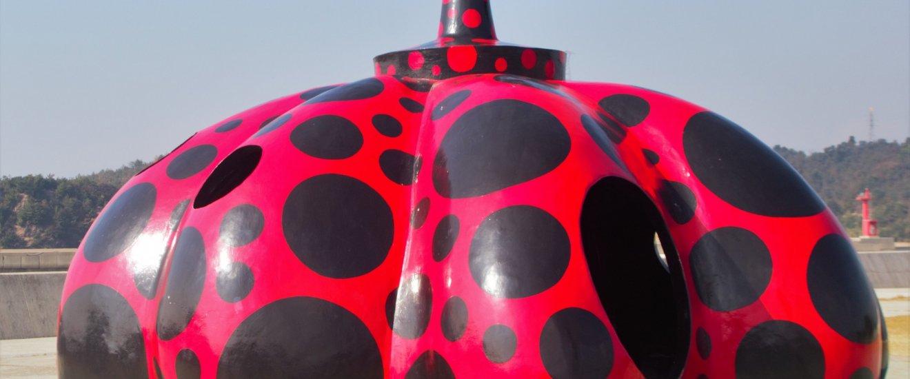 Yayoi Kusama\'s larger, playground of a pumpkin