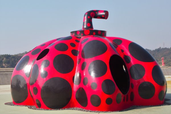 Yayoi Kusama\'s larger, playground of a pumpkin