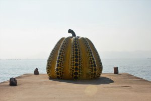 Yayoi Kusama, of polka dot fame, made two pumpkins placed on either end of the island. This one is located nearby all of the major art museums of the island.