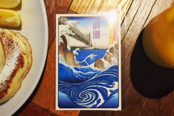 A free souvenir, a postcard with the print of the Naruto Whirpools made by Hiroshige Utagawa, comes with your day pass for Uzu no Michi