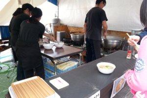 Preparing ramen