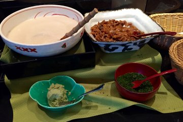 Grated mountain potato and other traditional foods